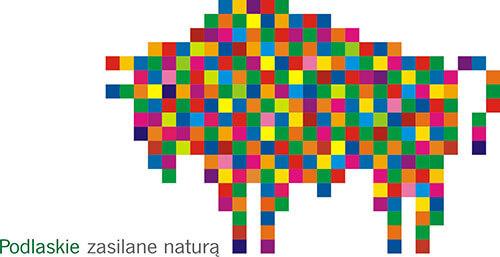 """Grafika przedstawia logo """"Podlaskie"""". Składa się z napisu """"Podlaskie"""" oraz żubra wykonanego z kolorowych kwadratów. Wygląda jakby był zrobiony z małych pikseli"""